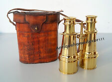 Nautical Brass Vintage Binocular With Leather Box Collectible Desk Decor Gift