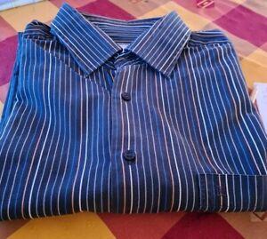 Chemise pierre cardin rayé bleu marron blanc pour hommes belle chemise