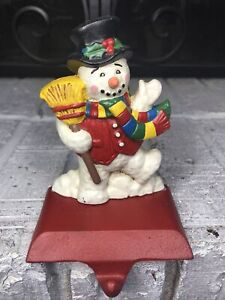 Midwest Frosty the Snowman SOLID Cast Iron CHRISTMAS STOCKING HOLDER Hanger