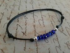Black Waxed Cord Friendship Bracelet with 6 Sea Glass Beads & 2 Silver 925 Beads