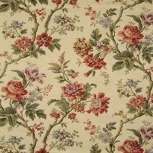 Waverly MAY MEDLEY Floral RUBY Remnant Drapery Curtain Upholstery Fabric BTY