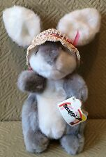 Vintage Plush Heartline Snuggables Bunny Rabbit Sally Straw Hat Tag