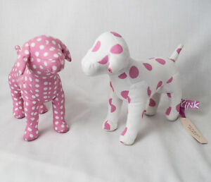 Victoria's Secret PLUSH DOG LOT Pink & White Polkadots w/ Tag Attached Stuffed