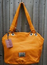 Large handbag Valentina Italia Orange Genuine Leather ITALY