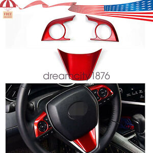 3PCS Sport Style Red Steering Wheel Cover Trims For Toyota Camry 2019 2020 2021