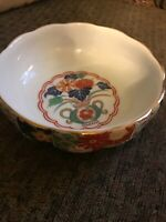 Vintage Arita Japan Imari Fan Gold Trim Flowers Scalloped Bowl Elegant Gift Brig