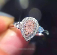 4Ct Pear Cut Pink Sapphire Diamond Dual Halo Engagement Ring 14K White Gold Over
