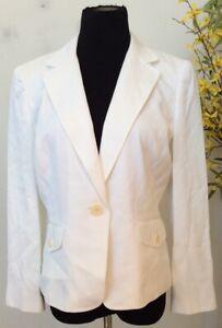 Ann Taylor Women's Career Ivory White Rayon Blend Blazer Jacket Size 12P EUC.