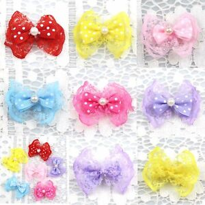 5/100Pcs Satin Ribbon Bow Lace with pearls Bows Applique decor Sewing DIY Crafts