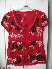 MONSOON 51% silk 49% cotton red oriental black cream floral top blouse shirt 8