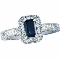 14K WHITE GOLD 2.20CT VINTAGE STYLE OCTAGON SAPPHIRE AND DIAMOND RING,