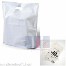 More details for 50 white patch handle carrier gift retail shopping plastic bags 15