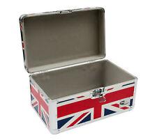 "Zilla LP200 7"" Vinyl Record Box Storage Flight Case Aluminium UNION JACK Print"