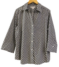 NEW Foxcroft from Stitch Fix Womens Black White Geometric Blouse Top size XL