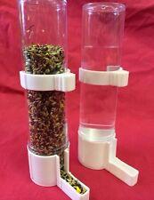 Alimentador del Pájaro x 2 bebedor de agua semilla Clipper fuente Periquito Canario Finch Blanco