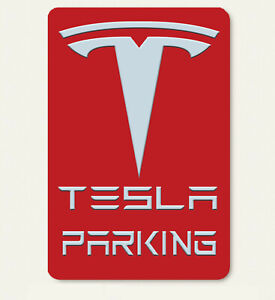 Tesla ART Car Parking only Aluminum sign with All Weather UV Protective RED