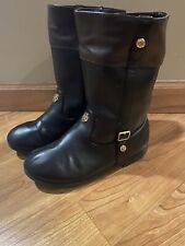 Girls MICHAEL KORS Equestrian Boots Two-Tone Black/Brown Size US 12