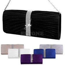 Women Satin Diamante Pleated Evening Clutch Bag Bridal Handbag Prom Purse Black