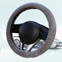 1Pc Soft Steering Wheel Cover Fuzzy Wool Velvet Car Auto Winter Warmer Set Gray