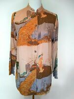 Citron Santa Monica Womens Peach Beige Asian Design Shirt Top Size XS