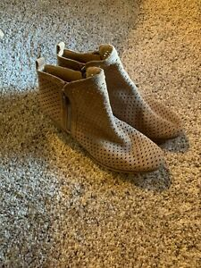 Lucky Brand Dark Tan Perforated Ankle Zip Booties Womens Size 8 EUC
