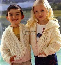 (515) Knitting Pattern for Childrens Zipped Aran Jacket, 2 Styles, 2-12yrs