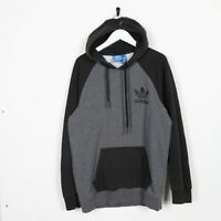 Vintage ADIDAS ORIGINALS Small Logo Hoodie Sweatshirt Grey Black | Medium M