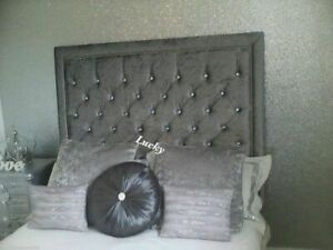 """30"""" inch Tall Chesterfield Headboard in CRUSHED VELVET with Bumper & Studs"""