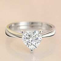 1Ct Heart Cut Diamond Solitaire Engagement Wedding Ring 14K White Gold Over