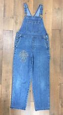 CRAZY HORSE BIB OVERALLS With Jewel Cross Blue Denim Farm Ranch Grunge Women's M