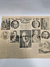 Boston Herald Newspaper June 3 1934 Clipping Ten Greatest Americans