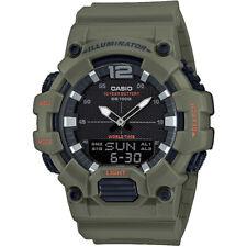 Casio reloj hombre analógico digital negro con caqui verde resinband y hora universal