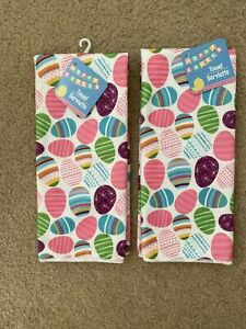 2 Easter Egg Spring Kitchen Towels Colorful Eggs Pink purple Blue  Happy Easter
