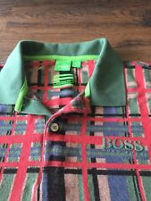 Hugo Boss Polo Green Label Shirt Modern Fit Sz M Plaid Striped Golf Medium Knit