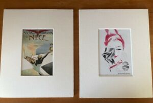 2 x Vintage French Advertisements repro Postcards white card mounts for framing