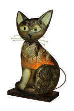Scratch & Dent Natural Shell and Metal Art Brown Swirly Tabby Cat Accent Lamp
