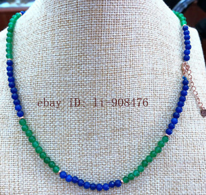 New 4mm Green Emerald & Blue Sapphire Round Gemstone Necklace 16-24 inches
