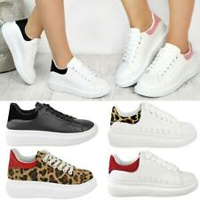 Womens White Oversized Chunky Sneakers Rubber Sole Trainers New Shoes Size