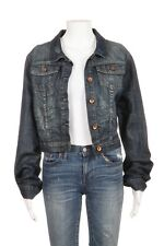 QUIKSILVER Denim Jacket Large Blue Jean Cropped Collared Button Down Distressed