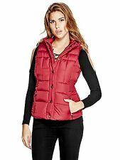 GUESS Vest Women's Hooded Puffer Vest Sleeveless Jacket Faux Fur Trim S Red NWT
