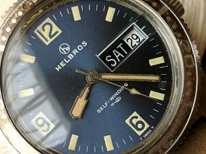 Vintage Helbros Day-Date Diver w/Blue Dial,All SS Case,AS 1916 Mvmt,Runs Strong