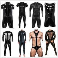 Men's Latex PVC Leather Bodysuit Jumpsuit Underwear Tops Leotard Tight Clubwear