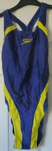 Speedo Ladies Purple/Yellow Racerback Swimming Costume 91cm Chest