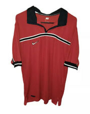 Vintage Nike Plain Jersey Polo Embroidered Spell Out Team Nike Fit Red Size M