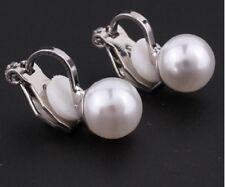 Elegante plata perla y diamantes de imitación imitación pendientes de Clip en No Perforado Reino Unido E34