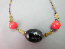 Victorian Pendant Necklace Red Orange Swirl Beads Large Nugget Stone Brass SALE!