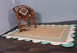 rustic decor rug beautiful rug beige colour white-sky blue scalloped jute rugs