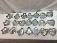"""Lot 21 Vtg Assorted Mini Tart Cake Jello Aluminum Mold Shell Heart Star Spade 3"""""""