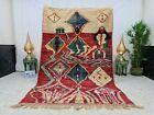 """Boujaad Moroccan Vintage Handmade 5'6""""x8'7"""" Berber Patchwork Red Blue Wool Rug"""