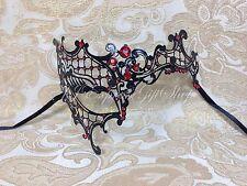 Black Phantom Laser Cut Half Venetian Masquerade Halloween Mask w/Red Rhinestone